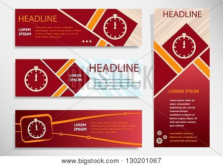 Stopwatch Icon On Vector Website Headers, Business Success Concept