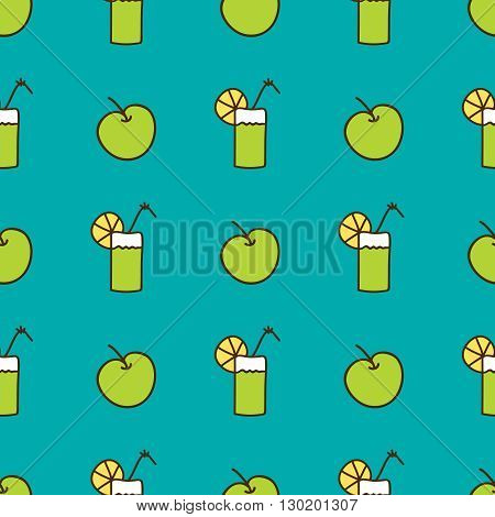 Seamless summer background. Hand drawn pattern. Suitable for fabric, greeting card, advertisement, wrapping. Bright and colorful apple and cocktail backdrop