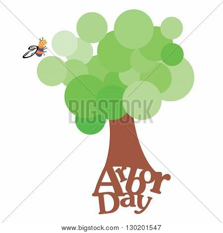 Circles designed in the shape of a tree along with the text Arbor day