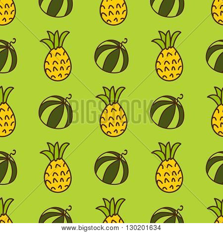 Seamless summer background. Hand drawn pattern. Suitable for fabric, greeting card, advertisement, wrapping. Bright and colorful watermelon and pineapple backdrop