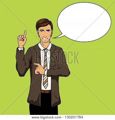 Businessman with idea. Cartoon pop art vector illustration. Human comic book vintage retro style.