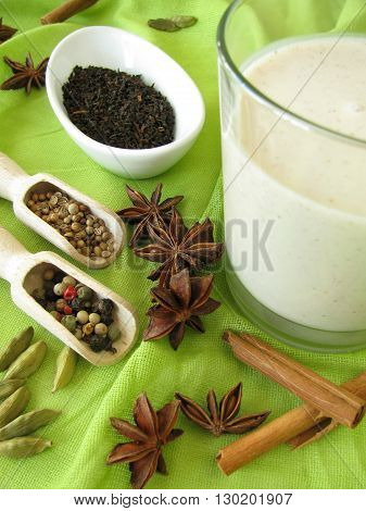 Chai lassi with black tea, yogurt and spices
