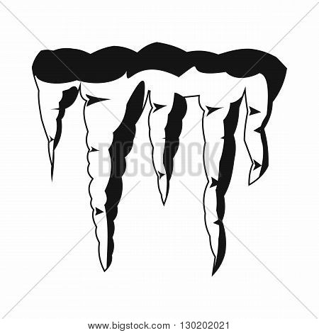 Melting icicles icon in black simple style isolated on white background