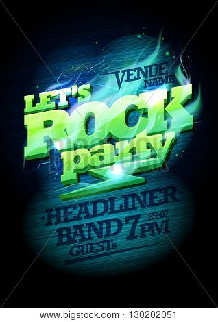 Let`s rock party design, electric plasma headline, copy space for text