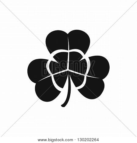 Three leaf clover icon in black simple style isolated on white background