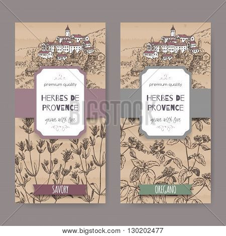 Two Herbes de Provence labels with Provence town landscape, savory and oregano sketch. Culinary herbs collection. Great for cooking, medical, gardening design.