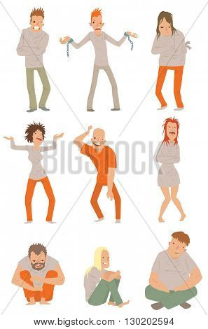 Mad crazy people vector illustration.