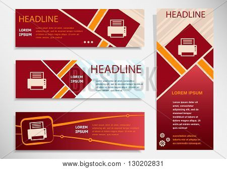 Printer  Icon On Vector Website Headers, Business Success Concept.