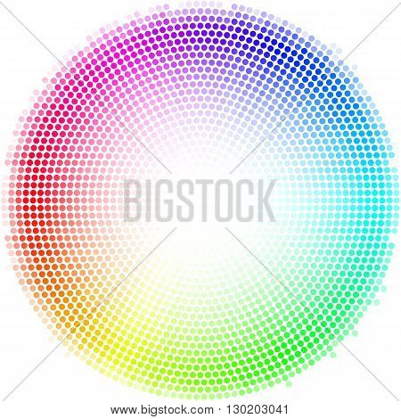 Equalizer multicolor dots digital in form circle with white in the centre on white background