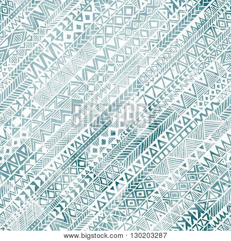 Seamless geometric pattern in grunge style. The diagonal orientation. Handmade. Ethnic and tribal motifs. Watercolor texture. The blue and white colors. Vector illustration.