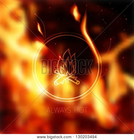 effective blurred fiery background and stylized fireplace logo sign