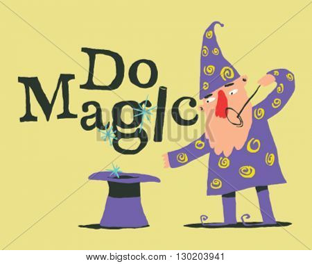 Magician with galley and magic wand, style vector illustration isolated on cream background - Do Magic Sign