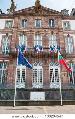 STRABOURG FRANCE - APR 19 2016: Hotel de Ville du Strasbourg or City Hall of Strasbourg with France flag European Union Flag and Bulgarian flag