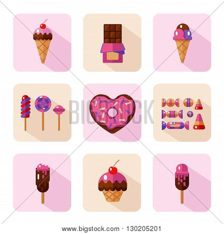 Vector flat style icons of sweets and candies products. Dessert icons set. Donut with glaze in heart shape, lollipops, chocolate, muffin, different types of ice creams and candies.