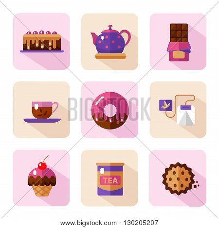 Vector flat style icons of tea party and sweets products. Dessert icons set. Cup, teapot, tea can, tea bag, donut, chocolate, cake, cookie, muffin.