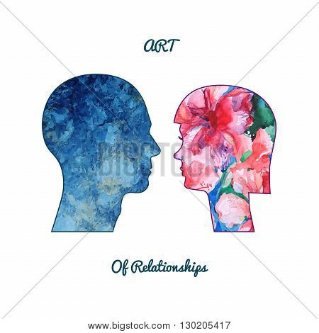 man's head silhouette with abstract watercolor texture inside