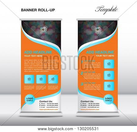 Roll up banner stand template stand design banner template advertisement flyer template presentation orange banner