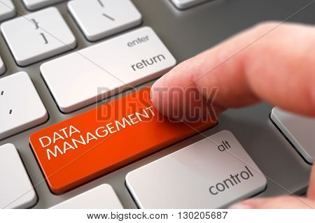 Man Finger Pressing Data Management Key on Slim Aluminum Keyboard. Hand Finger Press Data Management Key. Hand Pushing Data Management Orange Modernized Keyboard Key. 3D Illustration.