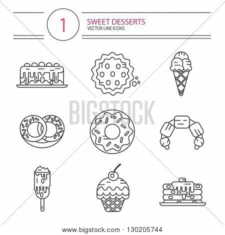 Vector modern line style icons set of sweets and candies products. Dessert icons set. Donut with glaze, cake, cookie, croissant, pretzel, pancakes, muffin, ice creams.