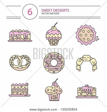 Vector modern line style icons set of sweets and candies products. Dessert icons set. Donut, cake, cookie, croissant and pretzel, pancakes, muffin.