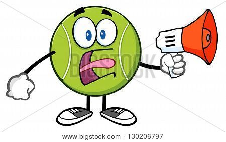 Angry Tennis Ball Cartoon Mascot Character An Announcement Into A Megaphone