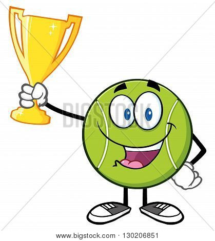 Happy Tennis Ball Cartoon Character Holding A Trophy Cup