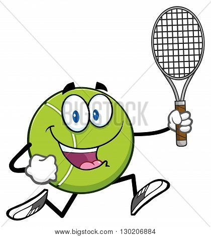 Tennis Ball Cartoon Character Running With Racket