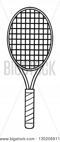 Black And White Cartoon Tennis Racket. Illustration Isolated On White