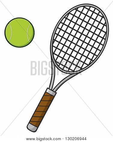 Cartoon Tennis Ball And Racket. Illustration Isolated On White