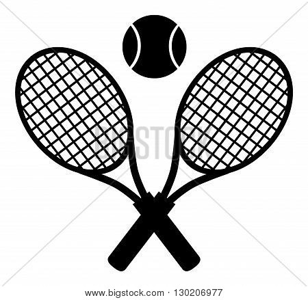Crossed Racket And Tennis Ball Black Silhouette