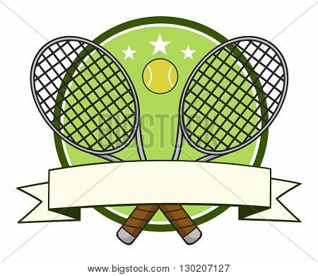 Crossed Racket And Tennis Ball Logo Design Label