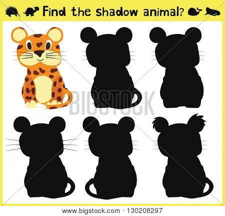 Children's developing game to find an appropriate shadow animal fun baby Jaguar. Vector illustration