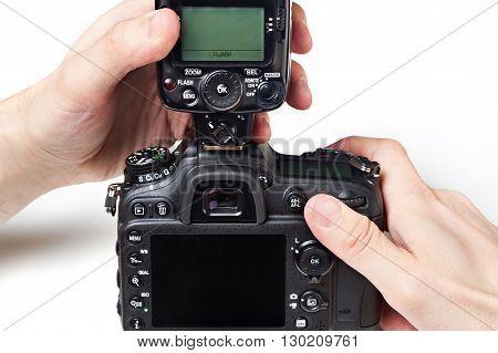 Photographer Set External Flash On Digital Slr Camera