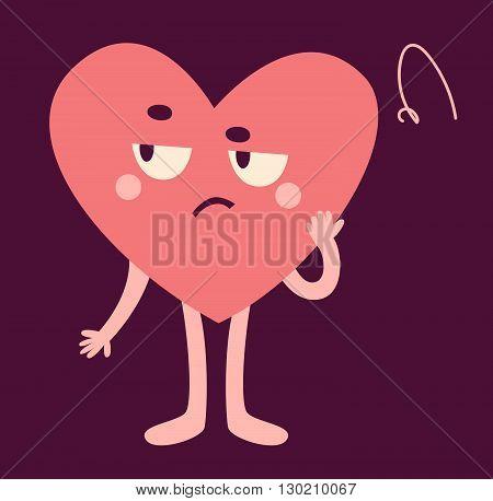 Cute Heart Character Looking Upset