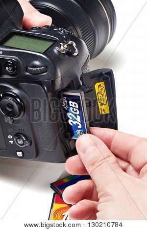 Set Flash Cards Cf In Dslr Camera