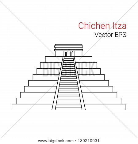 Vector Line Icon of Chichen Itza, Mexico. Isolated on white background.
