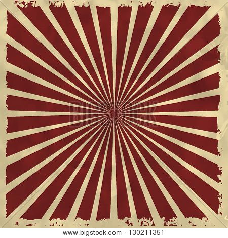 Retro Background With Red Radial Rays