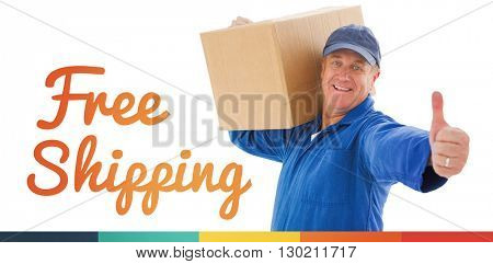 Happy delivery man holding cardboard box against free shipping