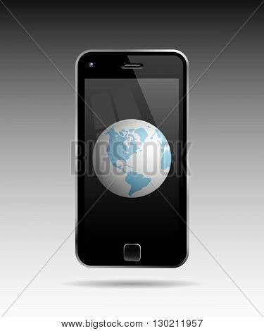Globe In Mobile Phone. Conceptual Vector Illustration Of A Mobile Phone And A Globe In It