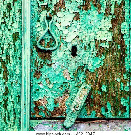 Antique door detail with wooden lock and metallic knocker