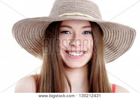 Portrait of happy tourist woman in hat on holiday on white backgraund