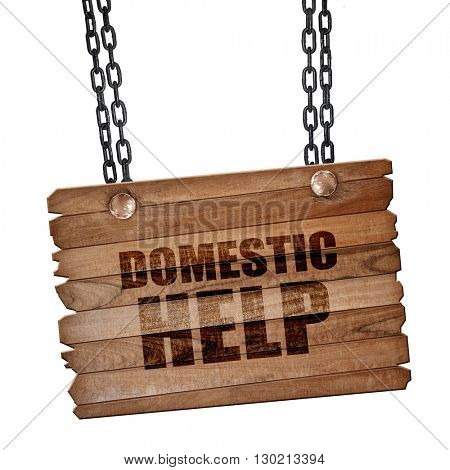 domestic help, 3D rendering, wooden board on a grunge chain