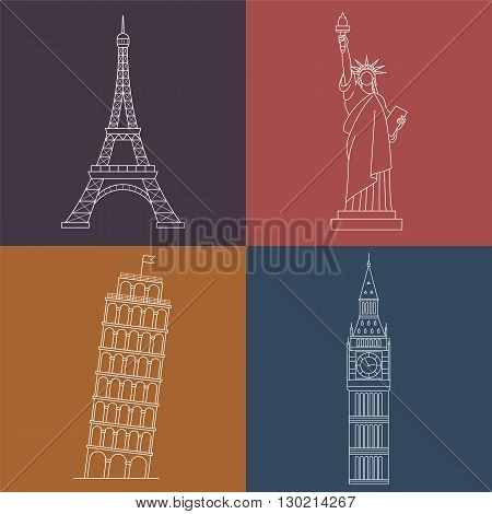 World Landmarks Statue of liberty, Eiffel Tower, Big Ben, Leaning Tower of Pisa. Vector line icons set.