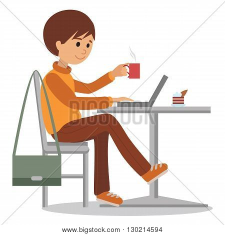 Young man at work sitting in cafe, drinking coffee. Vector illustration of student at coffee break using laptop. Drawing for coffee shop, element of design isolated on white background.