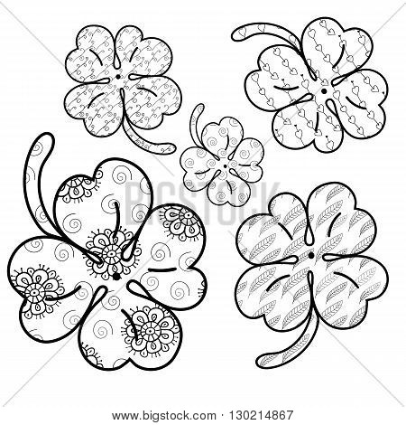 Clover leaves adult coloring book page. 5 seamless patterns are included in EPS. Whimsical line art Vector illustration.