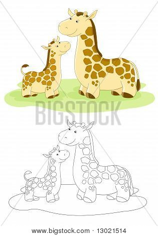 Vector Family Of Giraffes