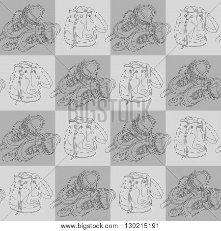 Seamless vector pattern with roller skates and bags. Can be used for graphic design textile design or web design.