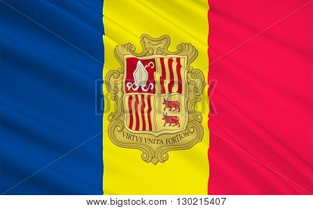 The national flag of the Principality of Andorra - adopted in 1866.