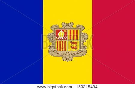 Flag of Andorra is a sovereign landlocked microstate in Southwestern Europe located in the eastern Pyrenees mountains and bordered by Spain and France