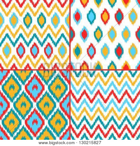 Colorful geometric ikat asian traditional fabric seamless patterns set of four, vector background